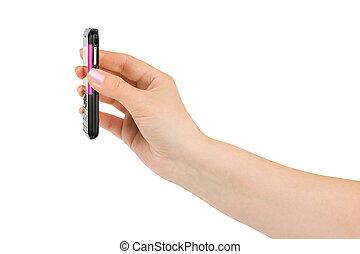mão, com, telefone móvel