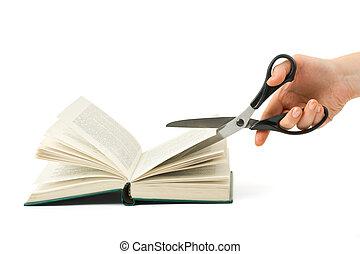 mão, com, tesouras, corte, livro