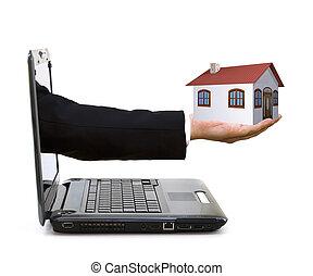 mão, com, um, casa, saindo, de, um, laptop