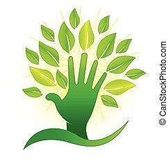 mão, com, verde, folheia, e, raios, logotipo