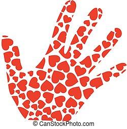 mão, com, vermelho, corações
