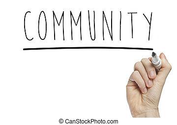 mão, comunidade, escrita