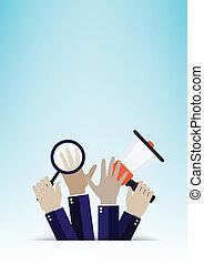 mão, conceito negócio, vetorial, illu
