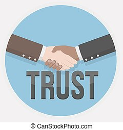mão, confiança, ilustração, abanar