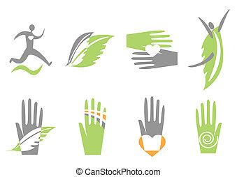 mão, coração, human., vetorial, ícones