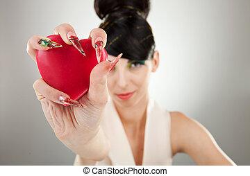 mão, Coração, mulher, segurando, um