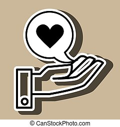 mão, coração, pretas, ícone, isolado, desenho