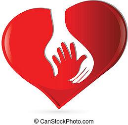mão, coração, proteção, símbolo, logotipo