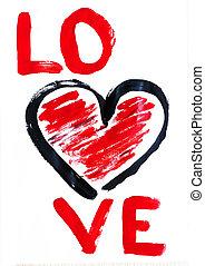 mão, coração, vermelho, desenhado