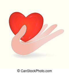 mão, cuidado, um, ame coração, logotipo