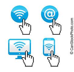mão, cursor, wifi, sumbol, ícones