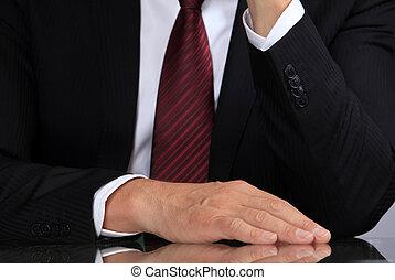 mão, de, a, homem negócios