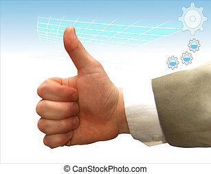 mão, de, a, homem negócios, que, mostra, a, grande, finger.