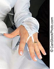 mão, de, a, noiva, com, anel casamento