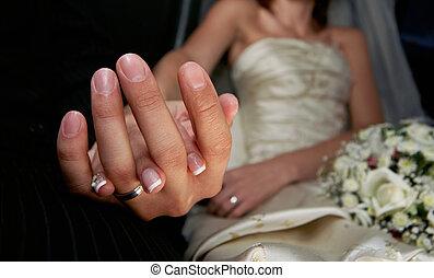 mão, de, a, noivo, e, a, noiva