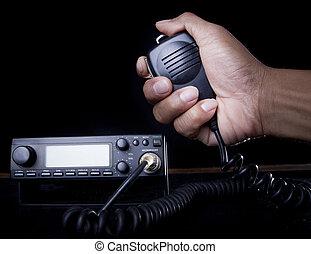mão, de, amador, rádio, segurando, orador, e, imprensa