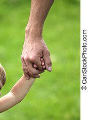 mão, de, pai criança