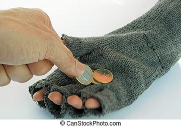 mão, de, um, pobre, criança, com, luva, quem, accepts,...