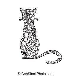 mão, decorado, caricatura, desenhado, gato