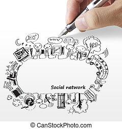 mão, delinear, rede, social