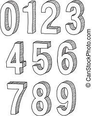 mão, desenhado, 3d, números