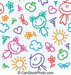 mão, desenhado, criança, padrão