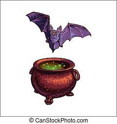 mão, desenhado, dia das bruxas, símbolos, -, voando, vampiro, morcego, e, feiticeira, cauldron