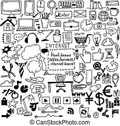 mão, desenhado, esboço, ícones, para, negócio, e, escritório., vetorial