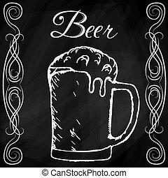mão, desenhado, esboço, de, cerveja
