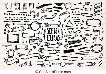 mão, desenhado, esboço, elementos