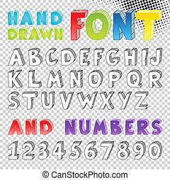mão, desenhado, esboço, fonte