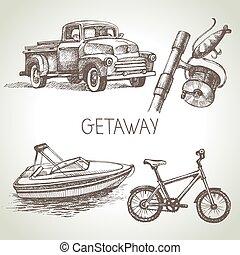 mão, desenhado, esboço, jogo, de, família, vacation., vetorial, ilustração