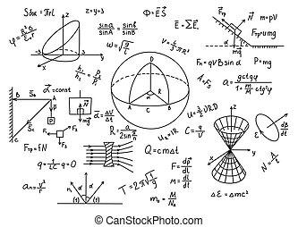 mão, desenhado, física, fórmulas, ciência, conhecimento,...