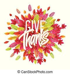 mão, desenhado, feliz, ação graças, dia, experiência., dar, thanks., vetorial, ilustração
