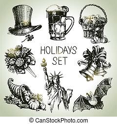 mão, desenhado, feriados, jogo