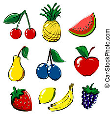 mão, desenhado, fruta, cobrança, ícone