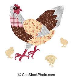 mão, desenhado, galinhas galinhas