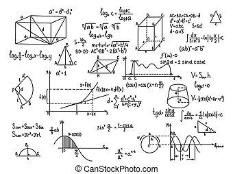 mão, desenhado, geometria, fórmulas, ciência, conhecimento,...