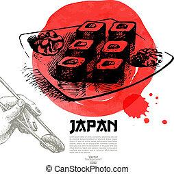 mão, desenhado, japoneses, sushi, illustration., esboço, e,...
