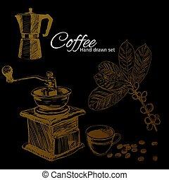 mão, desenhado, jogo café, inspirational, e, encorajando, quote.