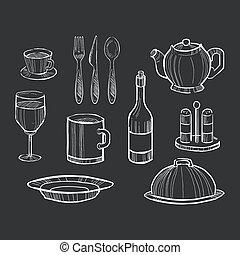 mão, desenhado, jogo, de, utensílios cozinha, ligado, um,...
