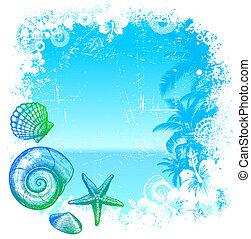 mão, desenhado, mar, habitantes, ligado, um, tropicais,...