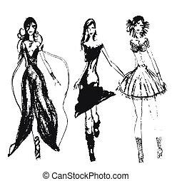 mão, desenhado, moda, meninas