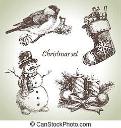 mão, desenhado, natal, jogo