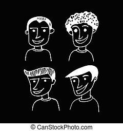 mão, desenhado, pessoas, homens, ilustração, desenho