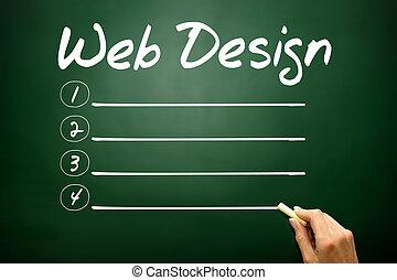 mão, desenhado, projeto teia, em branco, lista, conceito negócio, ligado, quadro-negro