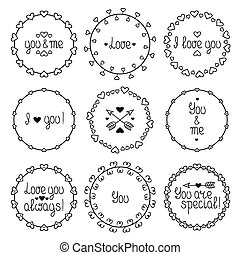 mão, desenhado, quadro, de, romanticos, padrão, com, hearts., trendy, doodle, style., vetorial, jogo, de, valentine, dia, vindima, desenho, elements., bonito, simples, lettering.