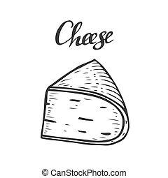 mão, desenhado, queijo