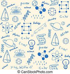 mão, desenhado, seamless, ciência, ícones