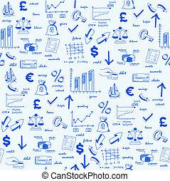mão, desenhado, seamless, finanças, ícones